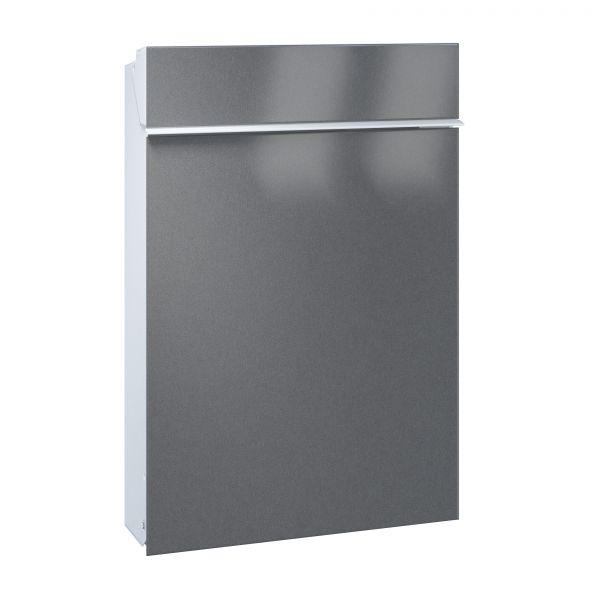 Briefkasten Flat - Front Stahl oder Edelstahl / Korpus weiß