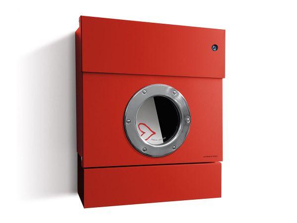 Letterman 2 Briefkasten Rot mit Bullauge und Klingel Blau