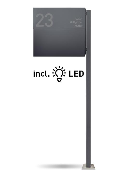 letterman xxl 2 anthrazit mit pfosten incl led licht standbriefkasten briefkasten designbowl. Black Bedroom Furniture Sets. Home Design Ideas